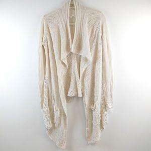 Anthropologie Knit Cream Waterfall Cardigan